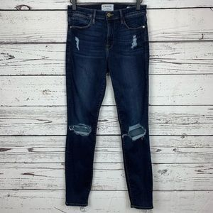 Frame Distressed Le High Skinny Jean
